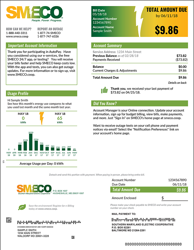 SMECO Solar Electric Bill